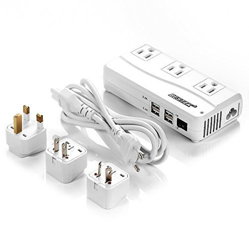 Ceptics Portable Travel Universal Power Strip 3 Outlet Charger US Cord 100-250V